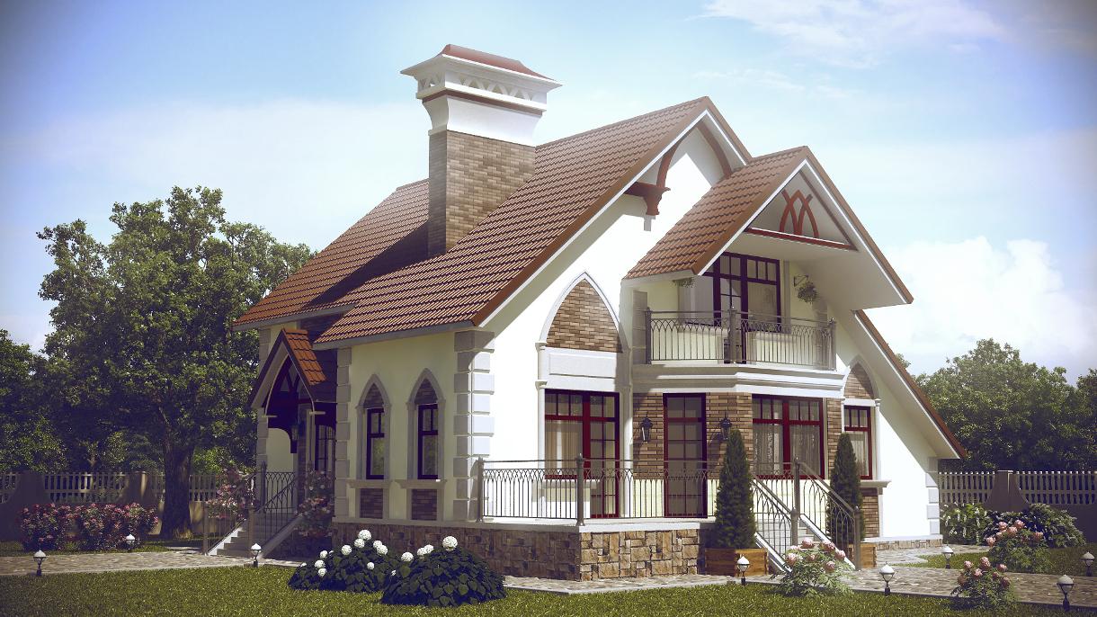 Проект дизайн фасада частного дома